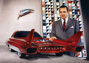William Ford alongside a 3/8 scale Nucleon model