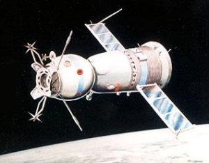 A Soviet Soyuz spacecraft